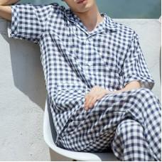 Soft Comfy Cotton Plaid Men Pajamas Lounge Sleepwear Suit