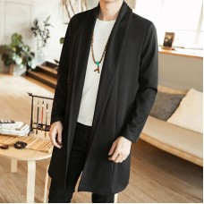 INCERUN Mens Mid-long Open Thin Knitted Shawl Cardigan Coats