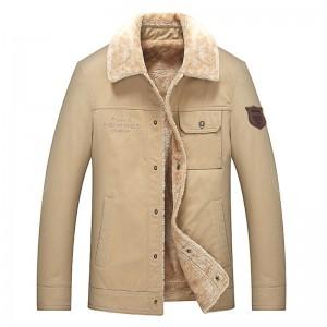 Mens Plus Size Lapel Collar Fleece Warm Chest Pocket Winter Jacket