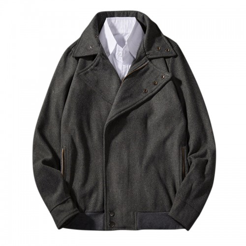 Mens Fall Winter Woolen Coat Solid Color Fashionable Casual Jacket