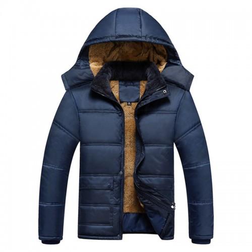 Mens Thick Warm Winter Fleece Hooded Jacket Black Big Pocket Coats