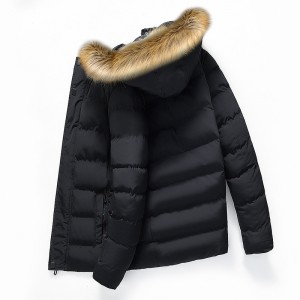 Mens Winter Furry Hood Thick Warm Padded Jacket