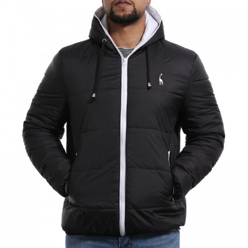 Mens Contrast Color Personalized Deer Embroidery Winter Warm Hooded Padded Jacket