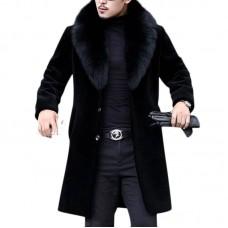 Men Faux Fur Coat Slim Fit Mid Long Winter Warm Black Casual Jacket Coats