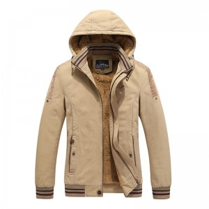 Mens Military Outdoor Thick Fleece Zipper Winter Hooded Tooling Jacket