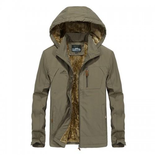 Mens Fleece Thick Warm Waterproof Windproof Outdoor Winter Parka Jacket