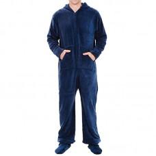 Mens Winter Thick Warm Coral Fleece Onesies Hooded Jumpsuit Sleepwear