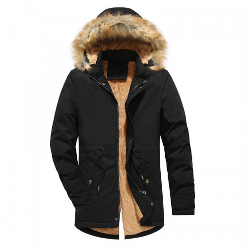 Mens Fleece Liner Thick Warm Windproof Hooded Cotton Jacket Outerwear