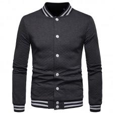 Men Diamond Lattice Contrast Button Jacket