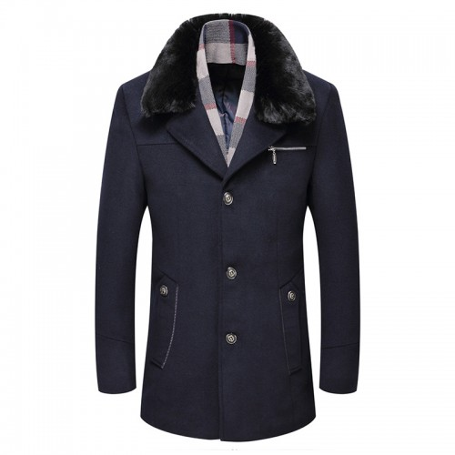 Mens Woolen Warm Coat Fleece Lining Thick Detachable Fur Collar Trench Coats