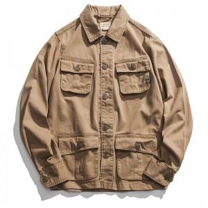 Mens Vintage Multi-pocket Military Outdoor Cotton Turn Down Collar Coat Jacket