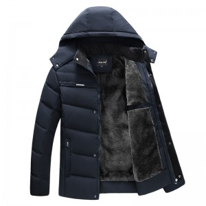 Mens Winter Thick Warm Fleece Hooded Jacket Casual Solid Color Coats