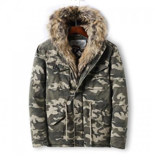 Mens Camo Printing Thick Faux Fur Collar Winter Jacket Casual Coat