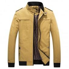 Mens Autumn Cotton Fashion Casual Jacket Slim Stand Collar Coat