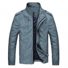 Mens Autumn Business Casual Solid Color Stand Collar Jacket