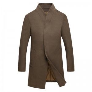 Mens Winter Mid Long Overcoat Business Casual Slim Fit Woolen Coats