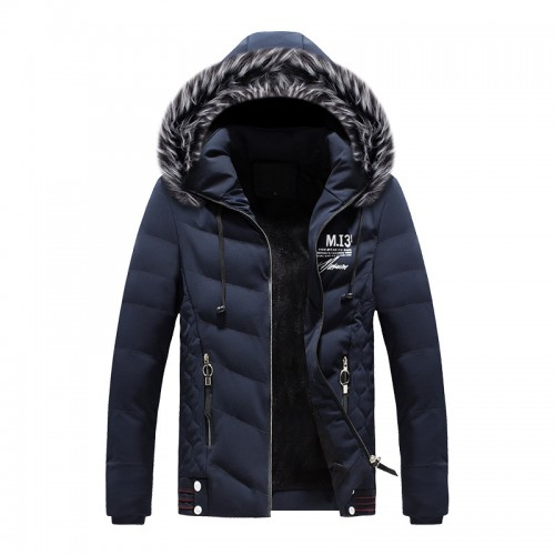 Mens Hooded Down Cotton Padded Solid Color Jacket Winter Thick Warm Short Parka