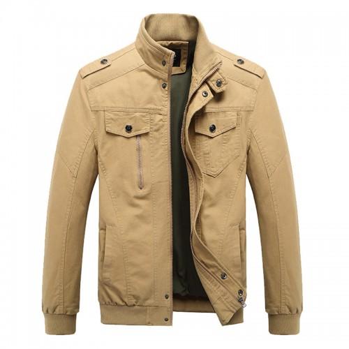 Mens Plus Size Military Epaulets Cotton Cargo Jacket
