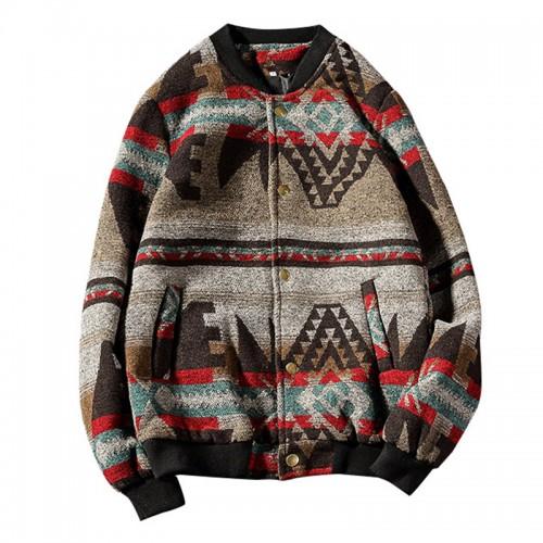 Mens Casual Autumn Fashion Baseball Collar Printed Jacket Streetwear Coats