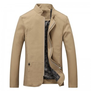 Mens Fashion Business Stand Collar Cotton Casual Solid Color Jacket