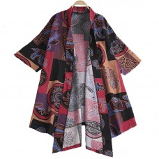 INCERUN Mens Chinese Style Cotton Casual Floral Printing Three Quarter Sleeve Cardigans Coat Top