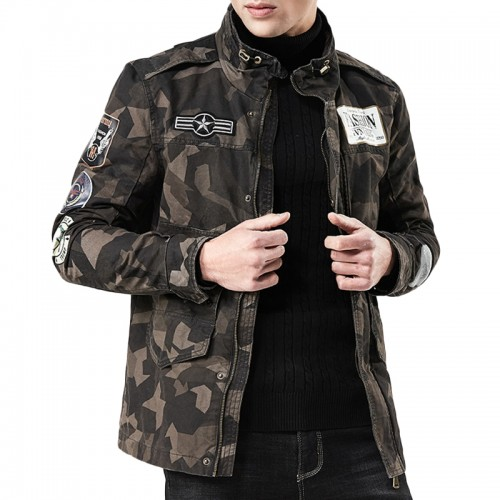 Mens Military Style Street Camo Stand Collar Cargo Jacket