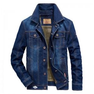 Mens Big Size Denim Embroidery Letter Patchwork Badge Stylish Turn-down Collar Jacket