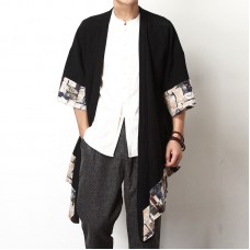 Mens Big Size Summer Loose Vintage Cotton Cloak Sleeve Printing Splice Coats