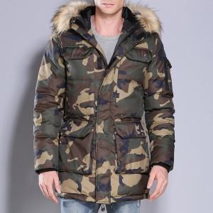 Mens Camo Cotton Down Padded Jacket Military Style Winter Multi-pocket Coats