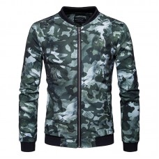 Mens Army Camo Printing Loose Casual Fashion Stand Collar Outdoor Sports Jacket