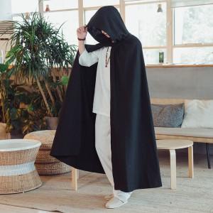 Vintage Fashion Hooded Cloak Loose Long Cape Coats Cosplay Costume