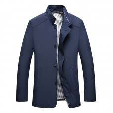 Mens Autumn Fashion Casual Solid Color Stand Collar Business Jacket