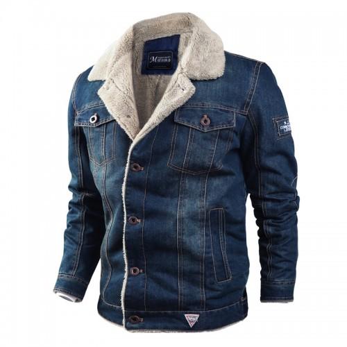 Mens Winter Thick Fleece Chest Pockets Warm Denim Jacket