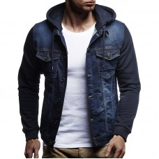 Men Casual Stitching Multi Pockets Drawstring Buttons Vintage Slim Hoodied Coats