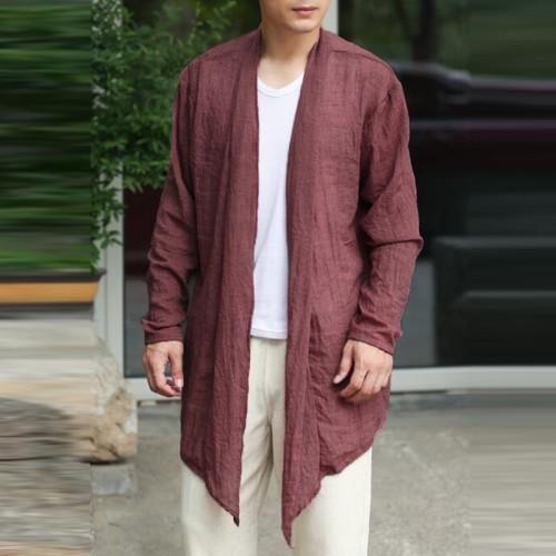 Mens Long Linen Cotton Baggy Cardigans Coats Ethnic Loose Overcoat Jacket