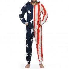 Personalized Unique Flag Pattern Hooded Comfy Home Loungewear Onesie Jumpsuit Sleepwear
