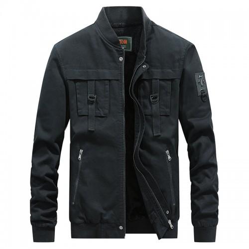 Mens Stand Collar Warm Fleece Liner Pockets Trendy Cargo Cotton Jacket