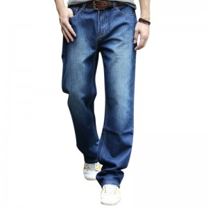 Mens Big Size Loose Casual Mid Rise Straight Legs Casual Jeans Denim Pants
