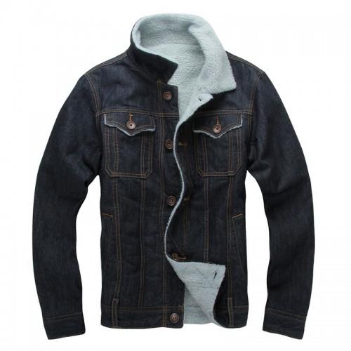 Mens Stylish Denim Thick Fleece Winter Turn Down Collar Warm Jacket