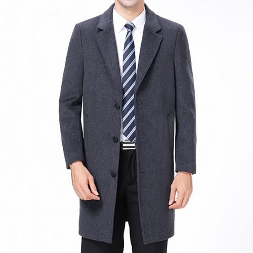 Mens Woolen Coat Mid Long Suit Collar Slim Fit Thick Winter Blazer Jacket
