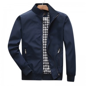 Mens Fall Thin Casual Business Solid Color Zipper Jacket