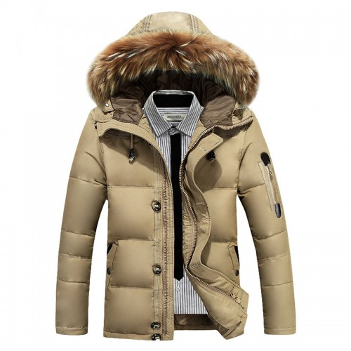 Mens Winter Thick Warm Down Jacket Detachable Furry Hood Padded Parka Coat