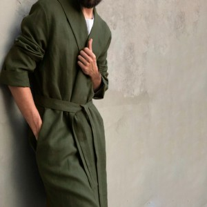 Mens Vintage Comfy Cotton Mid Long Robe Jacket with Waistband