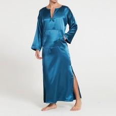 Casual Home Loungewear Soft Comfy Imitation Silk Sleepwear Night Gown Bathrobes for Men